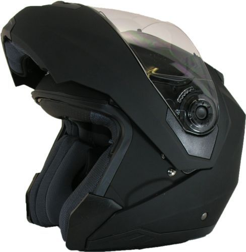 FLIP-UP-Front-MOTORCYCLE-Helmet-Modular-DOUBLE-Visor-Motorbike-MATT-BLACK  £39.95
