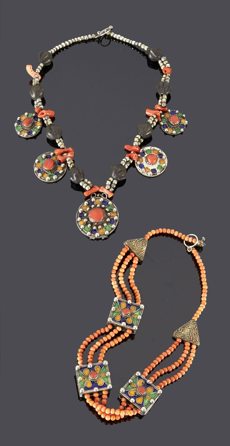 Algeria - Great Kabylia | Top) Silver, coral and scented dark brown beads combined with 5 pendants made up of coins (dating from 1200H to 1208H) which have been decorated with enamel and coral cabochons and Bottom) Silver triangular beads, three strands of coral and three square box beads that have been decorated with enamel | 806€ ~ sold (May '15)