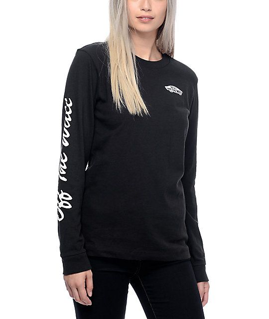 Create a California skate babe look with the OTW black long sleeve t-shirt from Vans. This black lightweight tee features a white screen printed Vans Off The Wall skateboard graphic on the left chest while showing a rad Off The Wall cursive text graphic d