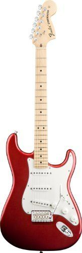 """Fender American Special Stratocaster® Electric Guitar, Candy Apple Red, Maple Fretboard by Fender. $899.99. Fender introduces the American Special Series Stratocaster guitar, which puts everything you want in an affordable U.S.-made instrument within your reach. Features include an alder body, maple neck with 9.5""""-radius fingerboard and jumbo frets, Texas Special pickups, vintage-style synchronized tremolo and satin urethane finish. The American Special Series - guita..."""