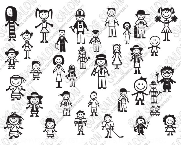 Family Stick Figure Car Decal Cut File
