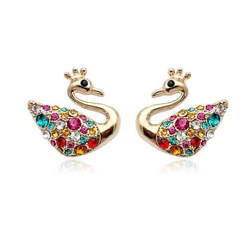 Мода ювелирные изделия красочные samll лебедь серьгу для маленьких девочек, популярные стержня уха оптовая продажа с дешевым ценой