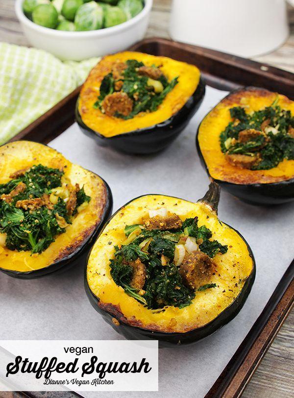 Vegan Stuffed Squash is a terrific autumn dinner! #vegan #vegandinner #veganreci…