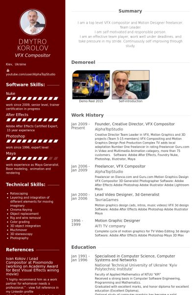 founder, creative director, vfx compositor Resume example