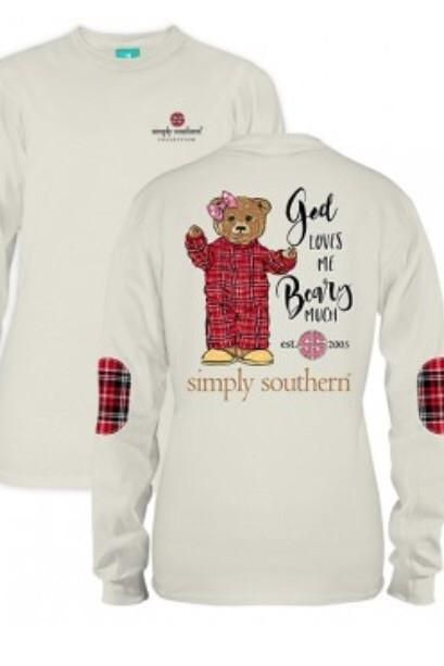 """Simply Southern """"Beary Much"""" Long Sleeve Tee-Cream from Chocolate Shoe Boutique"""