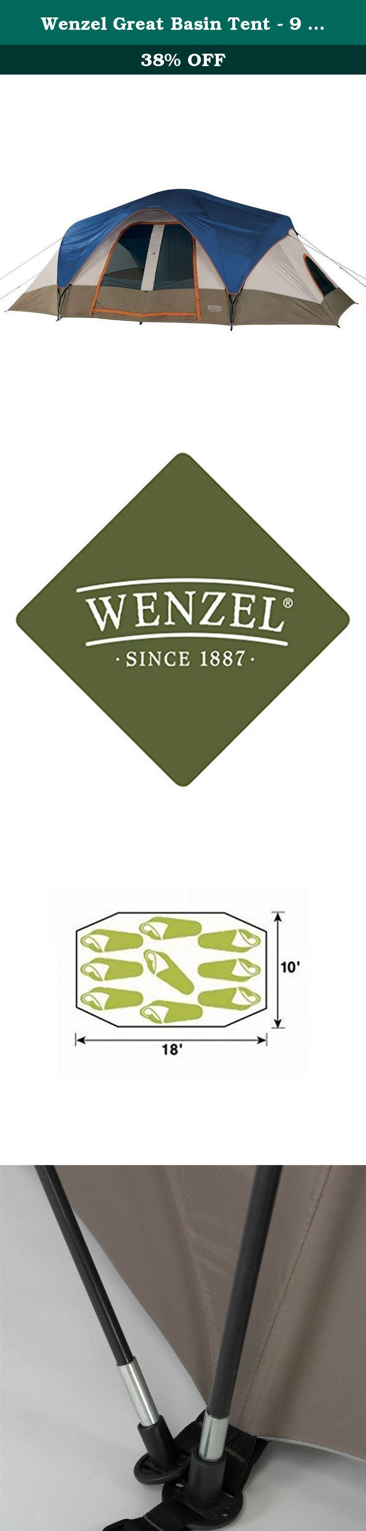 """Wenzel Great Basin Tent - 9 Person. One of our largest, spacious tents if your looking for extra room. The Great Basin base is 18 ft. x 10 ft. x 76"""" center height. With Back to back dutch """"D"""" style doors, two mesh windows and roof vents for ventilation. Constructed with welded polyethylene floor and fiberglass frame, with steel and plastic stakes to secure this portable home. Shockcorded fiberglass poles with pin and ring system for easy set-up and take down. Hooped fly over the front…"""
