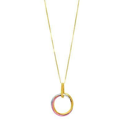 14k Yellow+Rose Gold Chain &Two Tone Round Pendant with 6 Point Star Patter