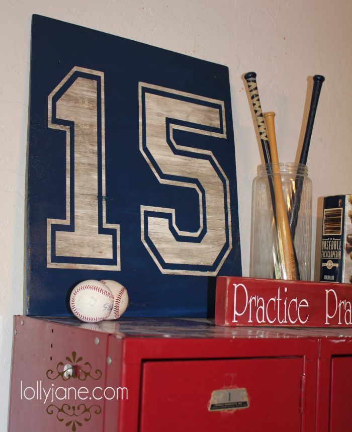 Boys bedroom decor number sign for a baseball theme bedroom.