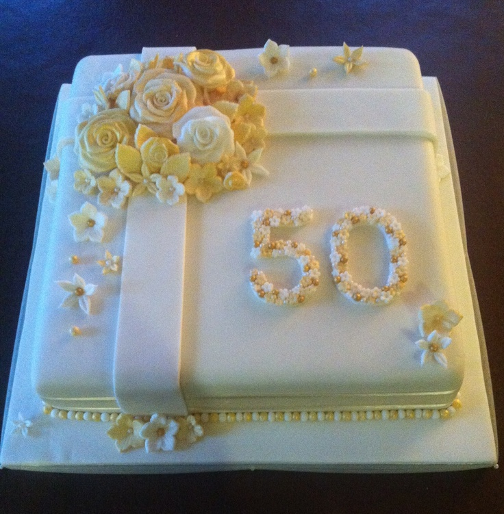 Golden wedding anniversary cake golden wedding pinterest golden wedding anniversary - Th anniversary cake decorations ...