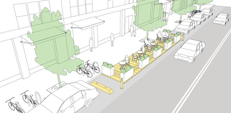 Parklets explained and illustrated in the NACTO Urban Street Design Guide. Click image for details & visit our popular Streets for Everyone board >> http://www.pinterest.com/slowottawa/streets-for-everyone/