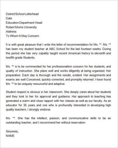 18 best Letters of rec images on Pinterest Letter for teacher - teacher letter of recommendation