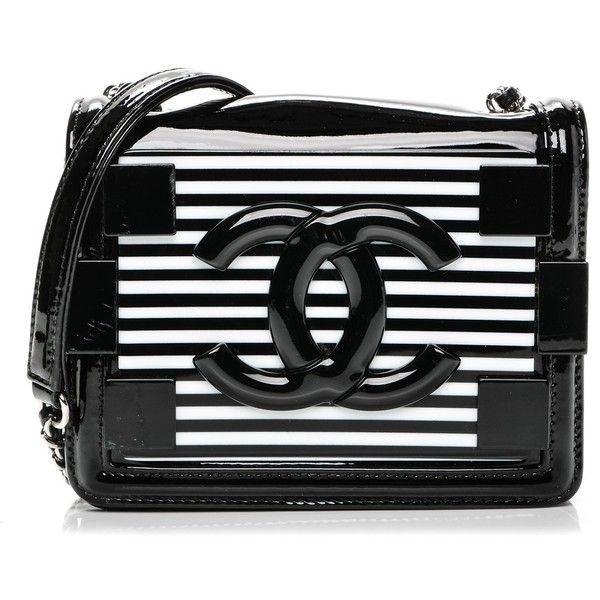 CHANEL Plexiglass Patent Mini Striped Boy Brick Flap Black White ❤ liked on Polyvore featuring bags, handbags, chanel handbags, black and white purse, mini crossbody purse, stripe purse and patent leather purse