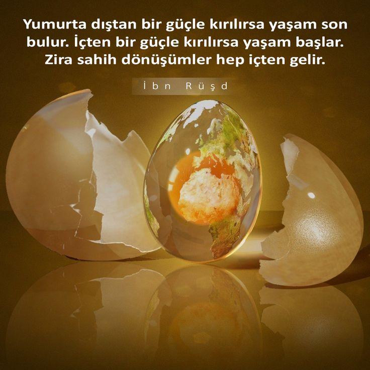 Yumurta dıştan bir güçle kırılırsa yaşam son bulur. İçten bir güçle kırılırsa yaşam başlar. Zira sahih dönüşümler hep içten gelir. İbn Rüşd