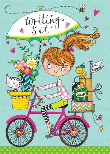 Rachel Ellen Girl On Bicycle Writing Set