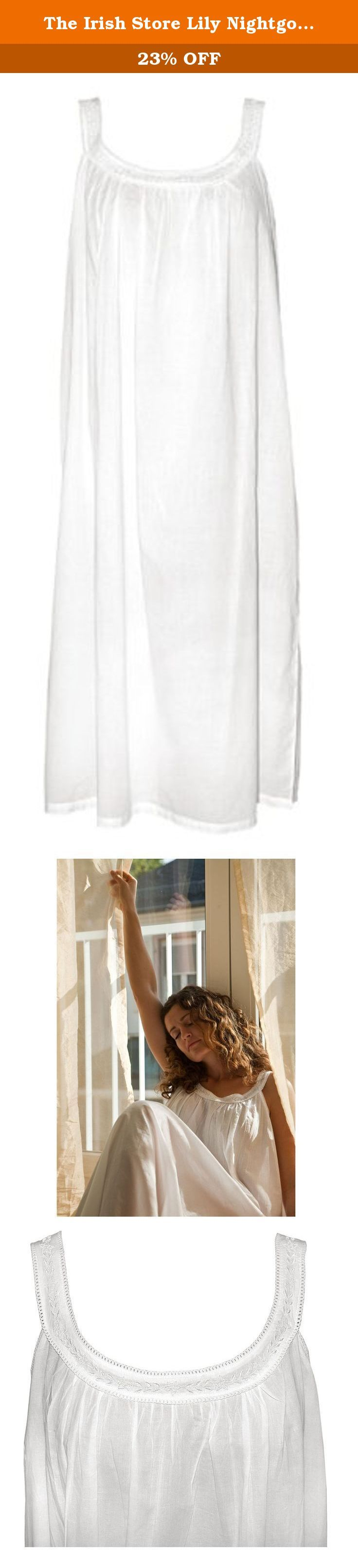 The Irish Store Lily Nightgown White M/L. A simple classic nightgown with a round neckline, delicate embroidery detail and thin straps.