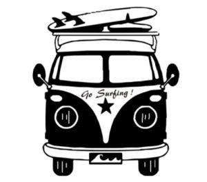 Bus avec planches de surfeurs