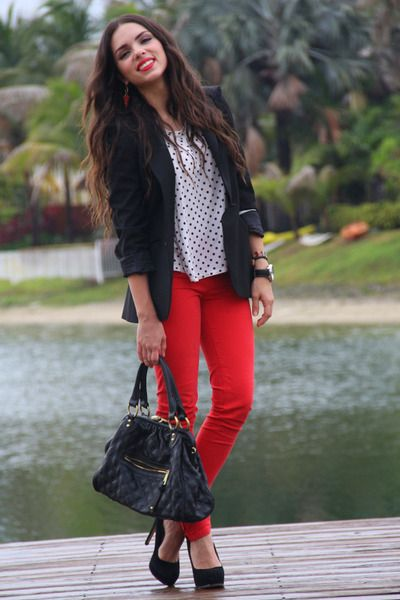 outfits with red pants and black | red-zara-jeans-black-zara-blazer-black-mimi-boutique-bag-black-steve ...