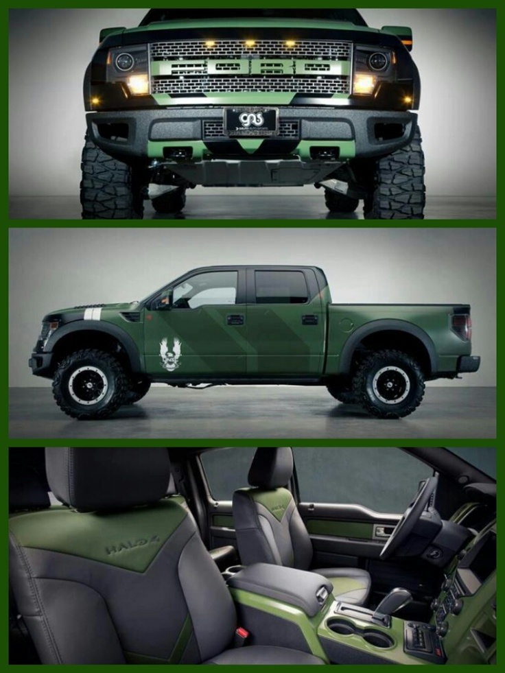 """Halo 4"" Ford F150 SVT Raptor, only replace the UNSC logo, with the Green Lantern Corps logo and, Have the the oath on the tail gate maybe."