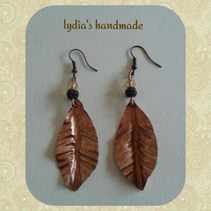 Σκουλαρίκια χειροποίητα φύλλα από χαλκό με λάβα!
