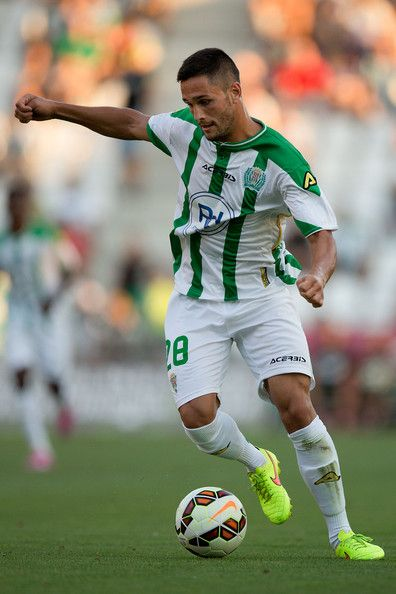 Florin Andone of Cordoba CF controls the ball during the pre season friendly match between Cordoba CF and Raja de Casablanca at El Arcangel stadium on August 6, 2014 in Cordoba, Spain.