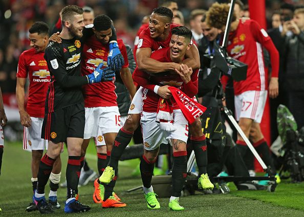 February 26th 2017 Wembley Stadium London England EFL League Cup final Southampton v Manchester United Marcos Rojo of Manchester United Luis Antonio...