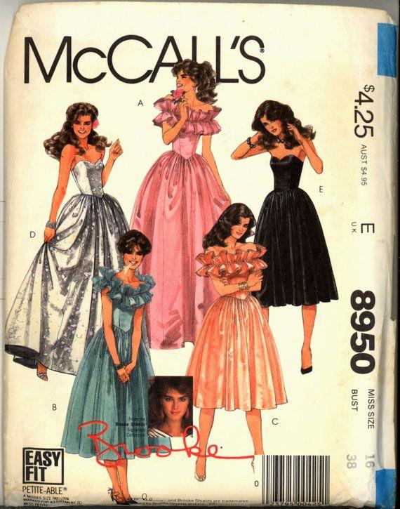 1980s Brooke Shield Strapless Gown McCalls by VintagePatternsCo1