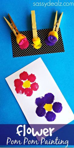 Make a flower pom pom craft with your kids using paint and clothespins! It's a great for a Spring art project or to put on a Mother's Day card.