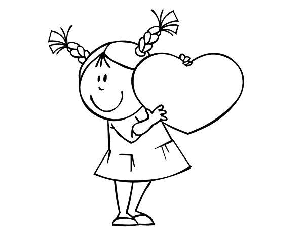 Imagenes Para Colorear De Niña: Dibujo De Niña Con Corazón Para Colorear