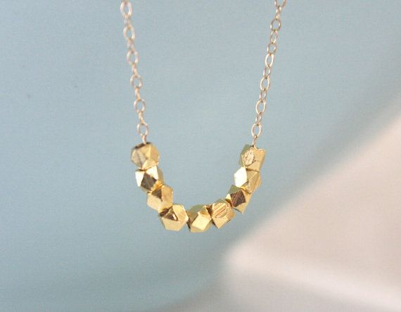 Gold Necklace Dainty Gold Necklace Gold Nugget by AvaHopeDesigns