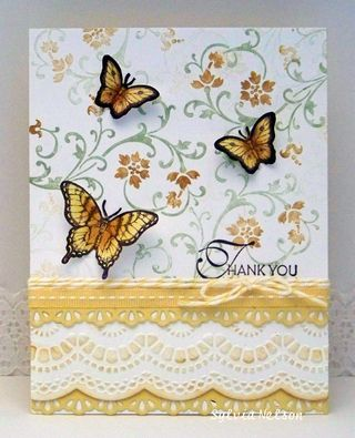 Daffodil Delight is the cardbase for this card. It is matted with white that I stamped with More Mustard and Pear Pizzazz. I used two lacey dies, the first a tiny border in DD and the second a wider lace border on white cs, rubbed with Mored Mustard. I added DD stitched ribbon and yellow and white Baker's twine. I stamped and colored three butterflies with Chocolate Chip, Daffodil Delight, and More Mustard. Thank you is the sentiment I chose for this card.