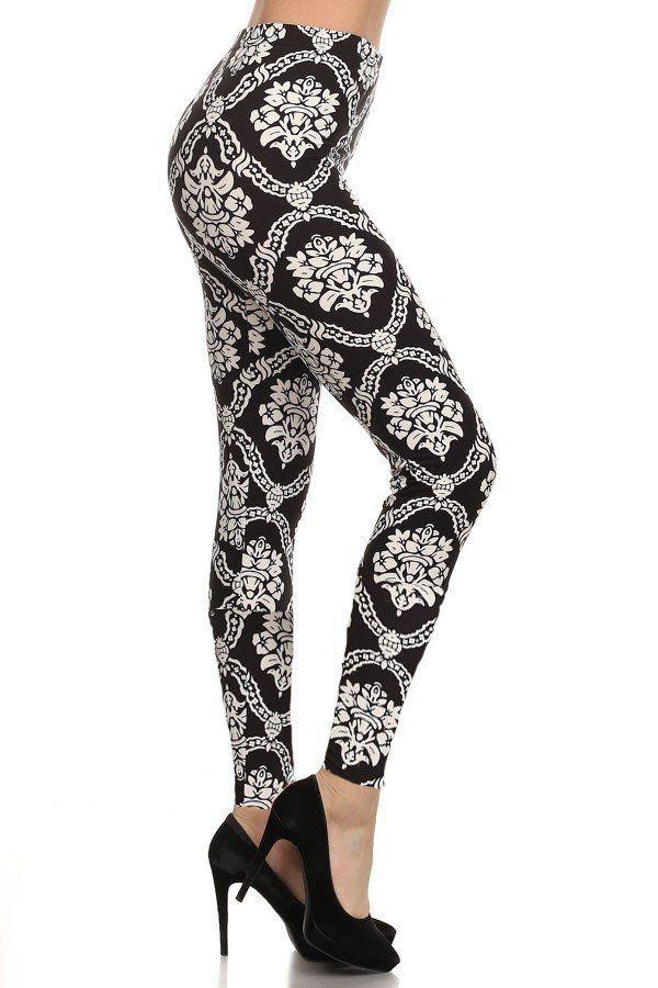 Damask leggings, black and white
