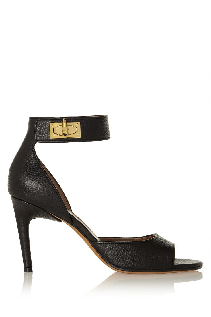 Givenchy | Shark Lock textured-leather sandals | NET-A-PORTER.COM