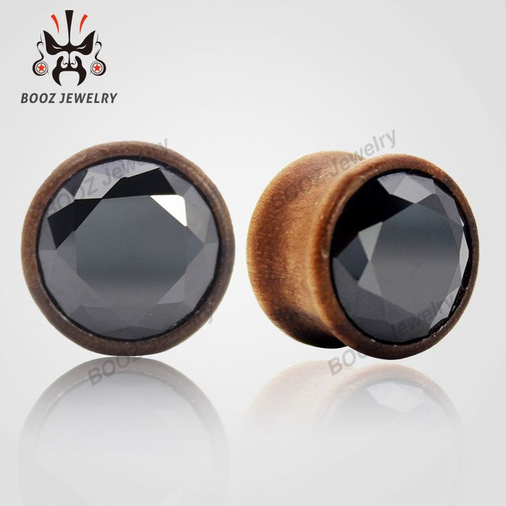 2016 hot fashion wood crystal plugs tunnels piercing ear gauges body jewelry 2pcs per size white and black crystal for choose