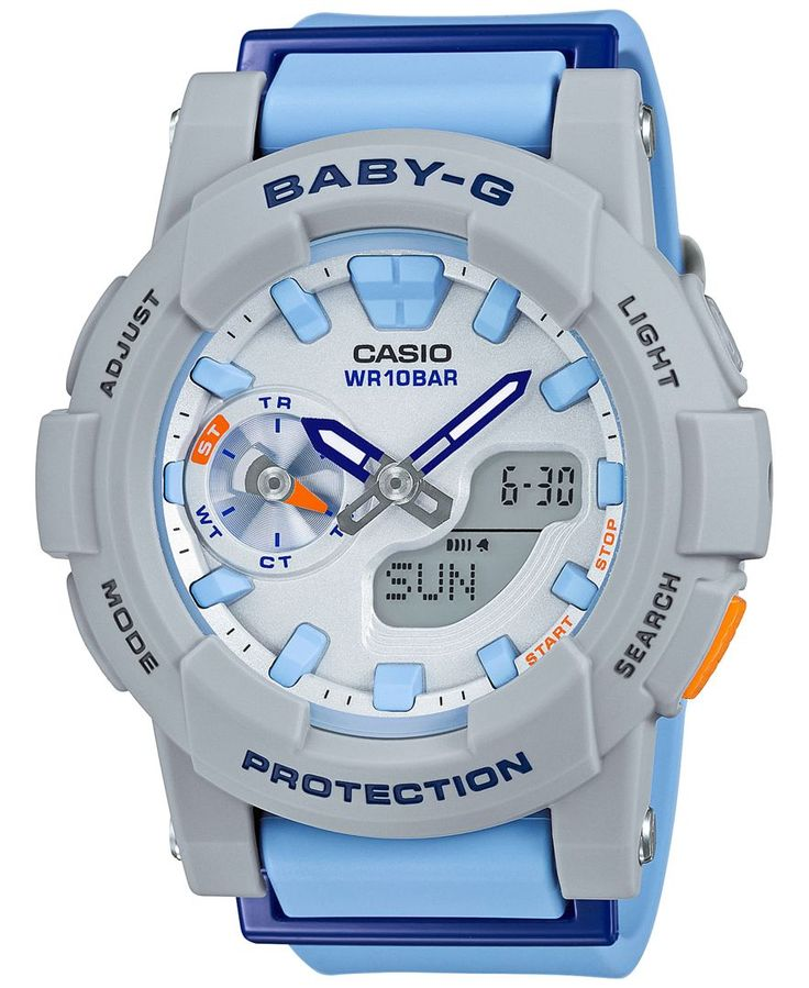Baby-g Women's Analog-Digital Light Blue Resin Strap Watch 44x49mm BGA185-2A