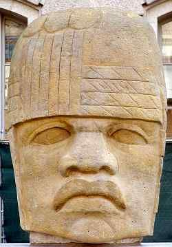 A great stone head from the Olmec civilization at the Smithsonian Institution