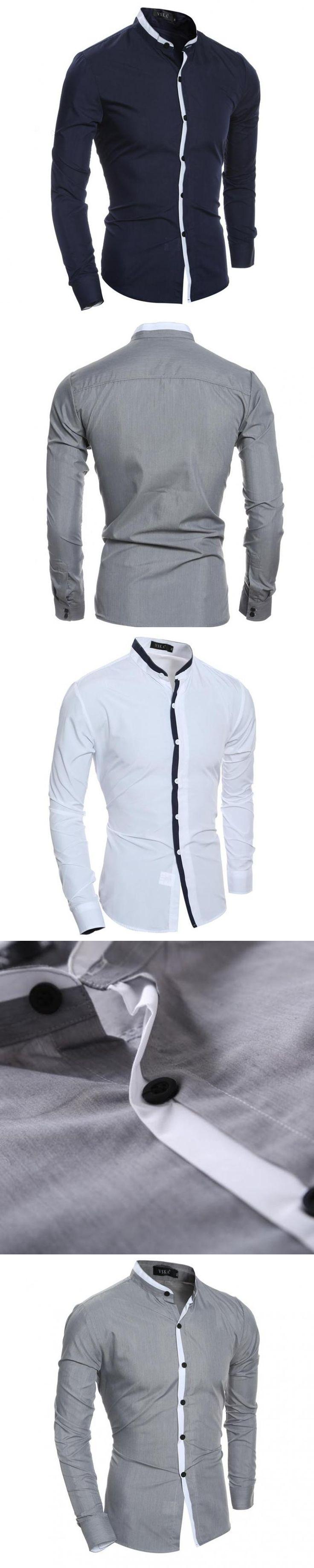 ZEESHANT Men Long Sleeve 2017 Brand Male Slim Fit Fashion Spell Color Chemise Mens Camisas Dress Shirt in Men's Tuxedo Shirts