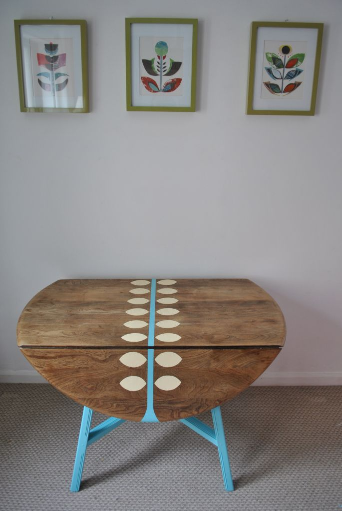 Ercol drop leaf table upcycled handpainted by happyretro.co.uk