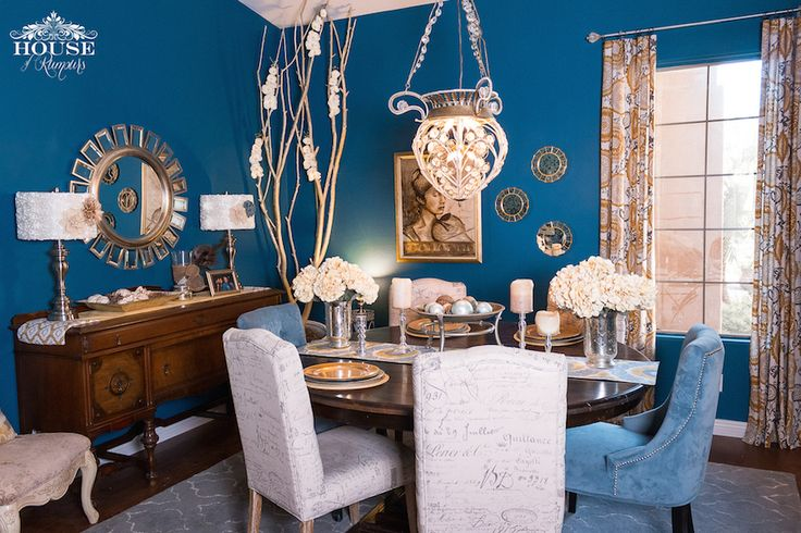 Eclectic Dining Room Update 187 House Of Rumours Navy Blue