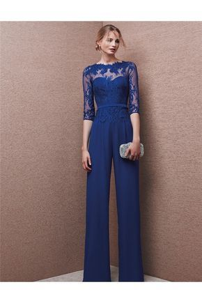 Formal Long Royal Blue Chiffon Lace Evening Jumpsuit With Sleeves