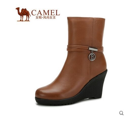 109.00$  Buy here - http://alixlk.worldwells.pw/go.php?t=32256428234 - Camel leather shoes with ultra-high boots 2014 winter boots casual Camel leather shoes 81058606 109.00$
