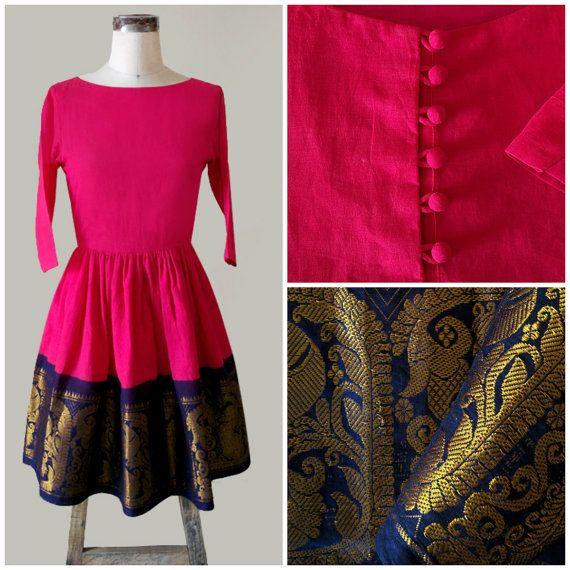 Pink & Navy Blue Fit and Flare Madurai Saree Dress