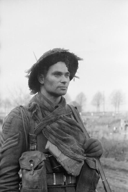 The face of battle: an infantry sergeant during the advance into Germany near Geilenkirchen, 5 December 1944.