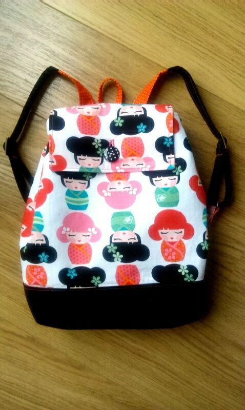 NEW Kokeshi Dolls Black and White Back Pack // Girls by SewSofia