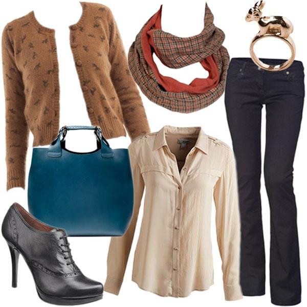 Az őszi divat kedvencei egy összeállításon belül. Lovas kardigán, trapéznadrág, magassarkú oxford cipő és egy gyönyörű kézitáska