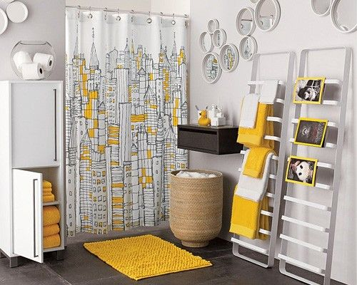 36 Bright And Sunny Yellow Ideas For Perfect Bathroom Decoration...Why am I so crazy about yellow and grey right now??