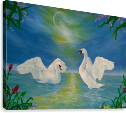 Fantasy, sky, art, swans, painting, artwork, canvas print, for sale