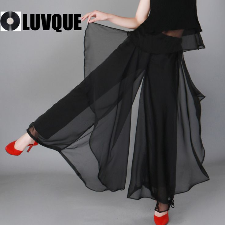 Женщины мода летом тонкие шифоновые личности широкую ногу широкий женские брюки до щиколоток брюки элегантный брючный черный новые