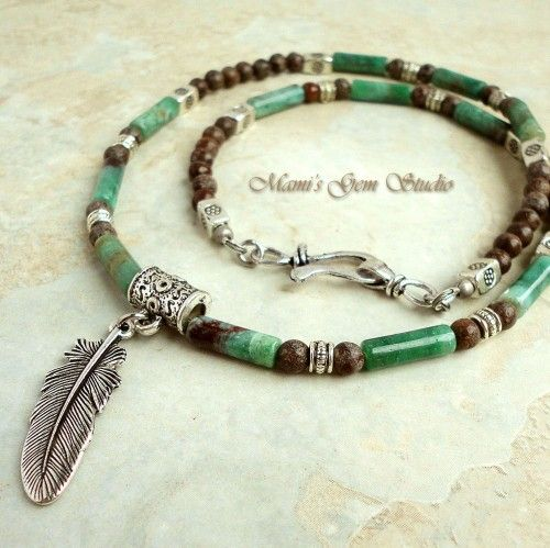 Mens Beaded Necklace Green and Brown Gemstone Metal Feather Pendant   Mamis_Gem_Studio - Jewelry on ArtFire