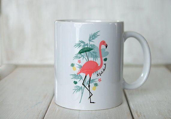 le Mug Flamant Rose et Ananas par Creabisontine sur Etsy, €14.00