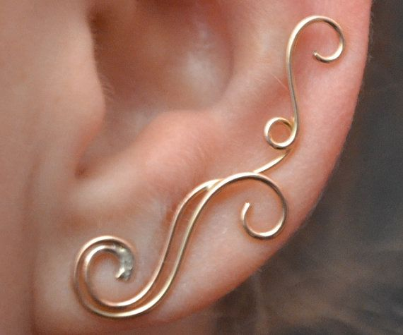 Ear Pin - Swirling Victorian - SINGLE SIDE- 14k Gold Filled, Sterling Silver, or Mixed Metals